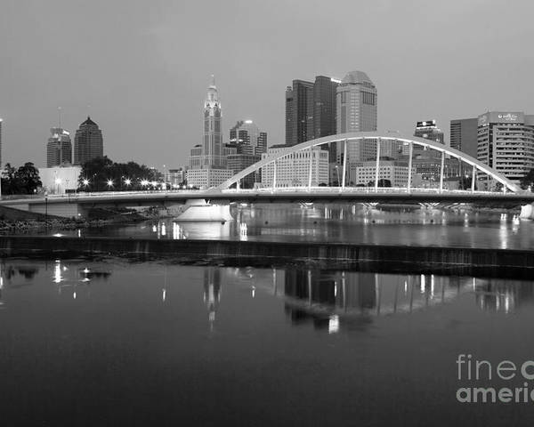 Black And White Poster featuring the photograph Downtown Skyline Of Columbus Ohio by Bill Cobb