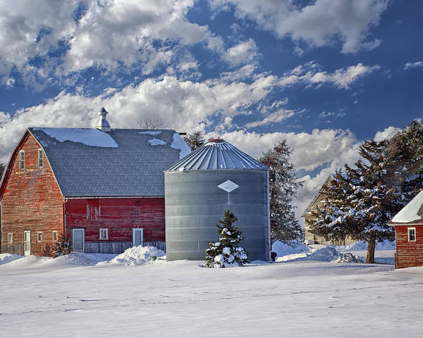 Red Barns Poster featuring the photograph A Beautiful Winter Day by Nikolyn McDonald