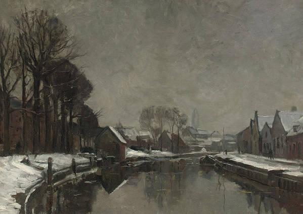 Belgian Poster featuring the painting A Belgian Town In Winter by Albert Baertsoen