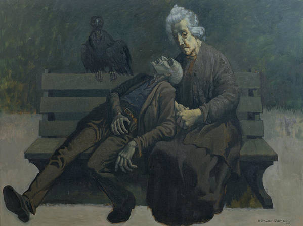 Modern Pieta Poster featuring the painting A Bench In Paris, 1960 by Osmund Caine