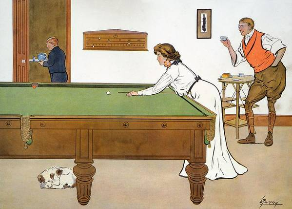 Billiards Poster featuring the drawing A Billiards Match by Lance Thackeray