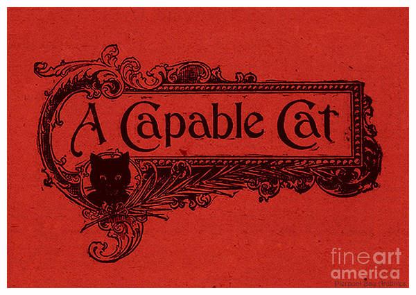 Graphic Art From Cut Out Sign Scroll Plaque Cat Kitten Black Cats Halloween Witch Pet Feline Kitchen Signs Poster featuring the drawing A Capable Cat Sign. Red by Pierpont Bay Archives