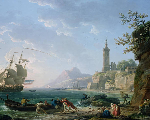 Ship Poster featuring the painting A Coastal Mediterranean Landscape by Claude Joseph Vernet