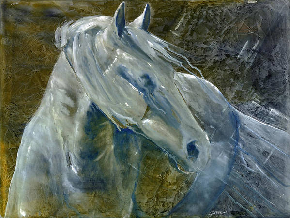 Horse Art Poster featuring the painting A Cool Morning Breeze by Jani Freimann