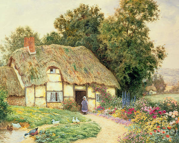 Cottage Poster featuring the painting A Cottage By A Duck Pond by Arthur Claude Strachan