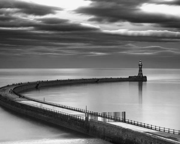 Lighthouse Poster featuring the photograph A Curving Pier With A Lighthouse At The by John Short