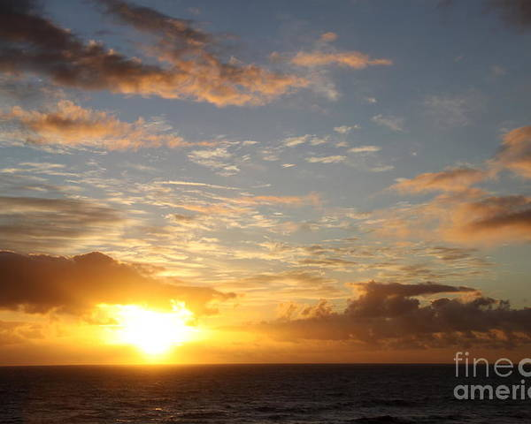 Sunrise Poster featuring the photograph A Golden Sunrise - Singer Island by Christiane Schulze Art And Photography