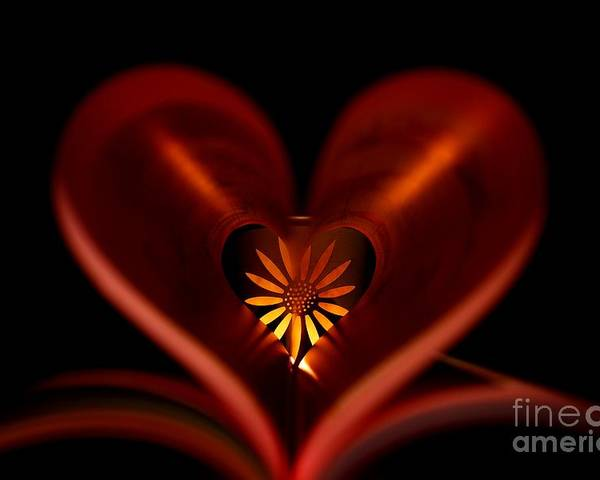 Heart Poster featuring the photograph A Heart With Flower. by Dipali S