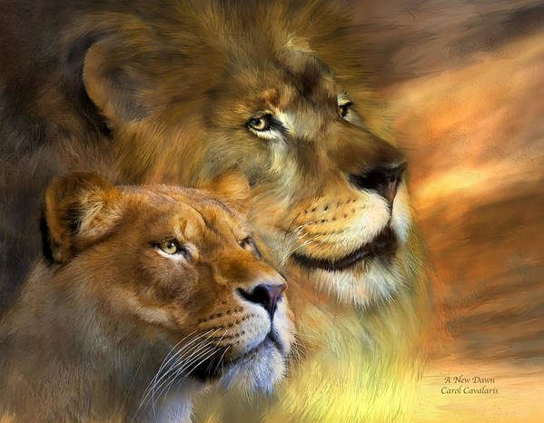 Lion Poster featuring the mixed media A New Dawn by Carol Cavalaris