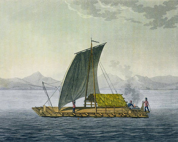Giulio Poster featuring the drawing A Raft Leaving The Port Of Guayaquil by Friedrich Alexander, Baron von Humboldt