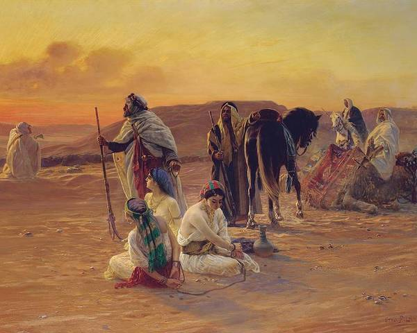 Rest Poster featuring the painting A Rest In The Desert by Otto Pilny