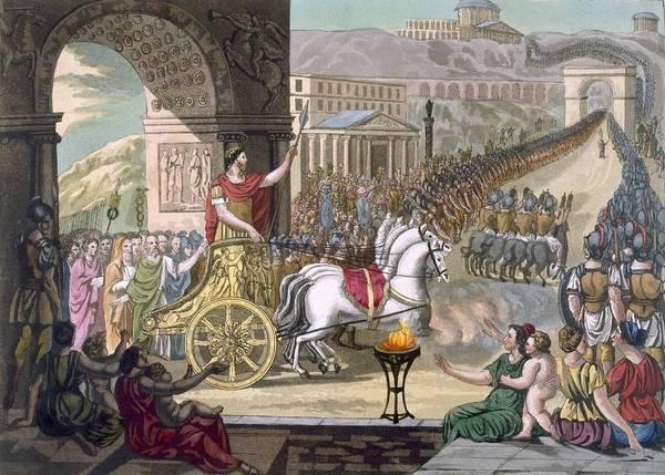 Ancient Rome Poster featuring the drawing A Roman Triumph, Illustration by Jacques Grasset de Saint-Sauveur