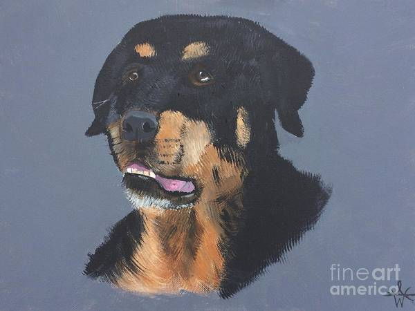 A Portrait Of A Rotweiller. Poster featuring the painting A Rottie Named Thor by Ambre Wallitsch