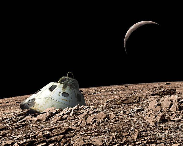 Color Image Poster featuring the photograph A Scorched Space Capsule Lies Abandoned by Marc Ward