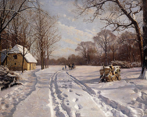 Danish Poster featuring the painting A Sleigh Ride Through A Winter Landscape by Peder Monsted