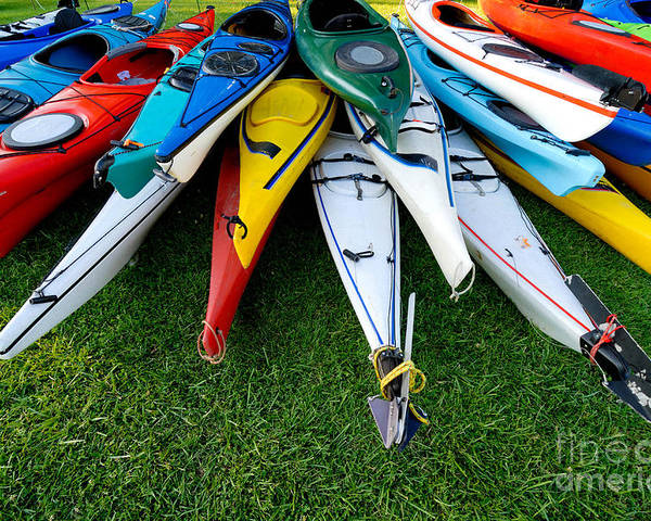 A Lot Poster featuring the photograph A Stack Of Kayaks by Amy Cicconi