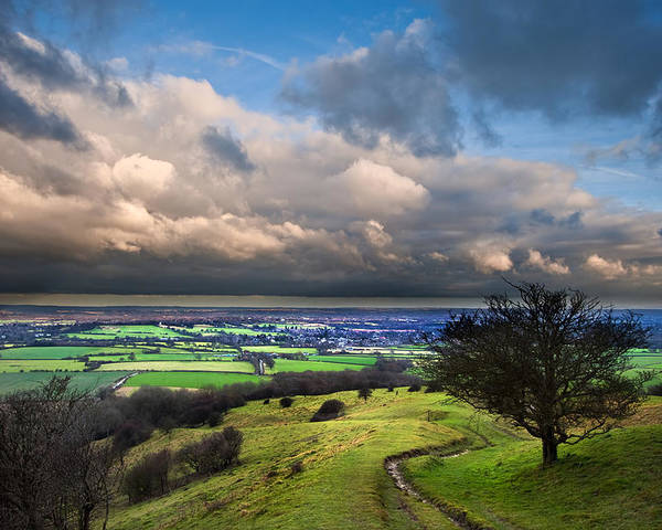 Landscape Poster featuring the photograph A Storm Over English Countryside With Dramatic Cloud Formations by Matthew Gibson
