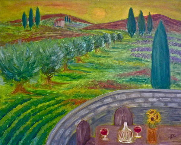 Tuscany Poster featuring the painting A Tuscan Balcony by Victoria Lakes