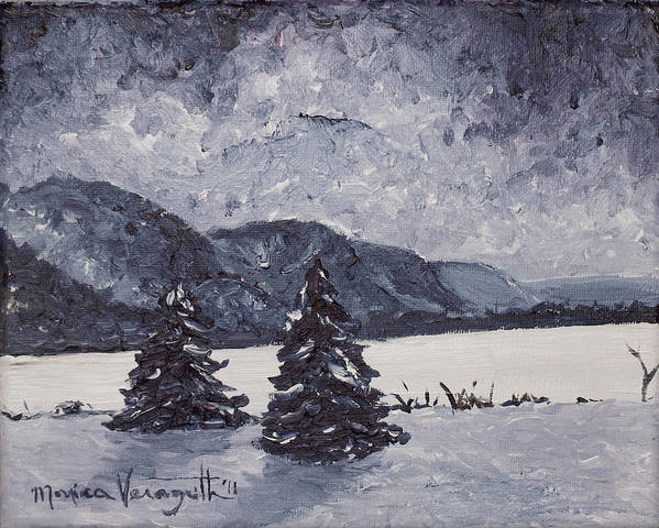 Artwork Poster featuring the painting A Winter Evening by Monica Veraguth