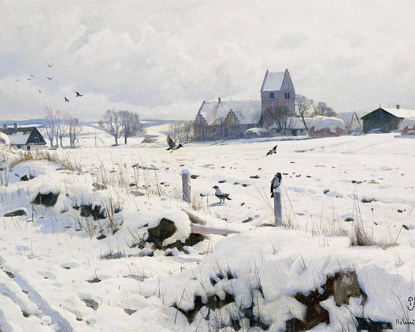 1920s Poster featuring the painting A Winter Landscape Holmstrup by Peder Monsted
