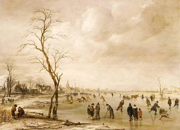 Winter Poster featuring the painting A Winter Landscape With Townsfolk Skating And Playing Kolf On A Frozen River by Aert van der Neer