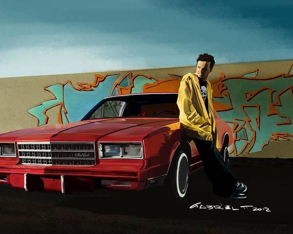 Aaron Paul Poster featuring the digital art Aaron Paul as Jesse Pinkman @ TV serie Breaking Bad by Gabriel T Toro