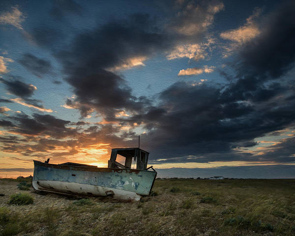 Landscape Poster featuring the photograph Abandoned Fishing Boat Sunset Landscape Digital Painting by Matthew Gibson