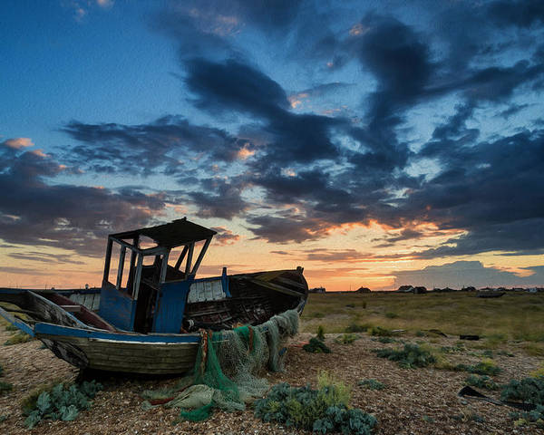 Landscape Poster featuring the photograph Abandoned Fishing Boatsunset Landscape Digital Painting by Matthew Gibson