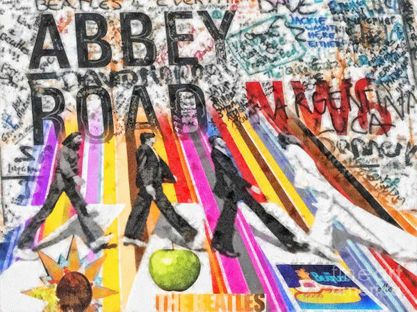 Abbey Road Poster featuring the mixed media Abbey Road by Mo T