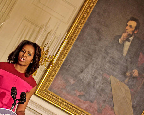 Michelle Obama Poster featuring the photograph Abe...and The First Lady by Douglas Adams