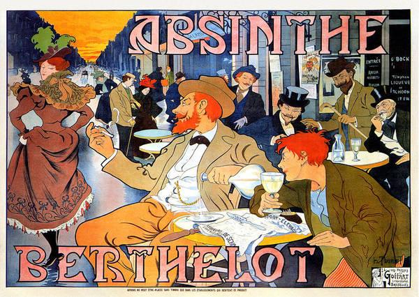 Art Poster featuring the mixed media Absinthe Berthelot by Henri Thiriet