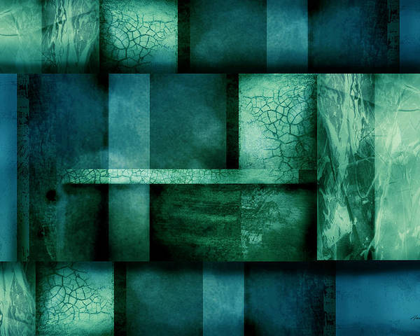 Abstract Poster featuring the digital art abstract art Blue Dream by Ann Powell
