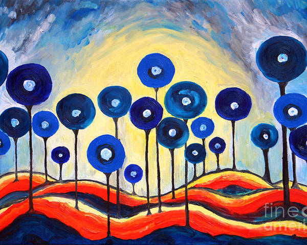 Lollipops Poster featuring the painting Abstract Blue Symphony by Ramona Matei