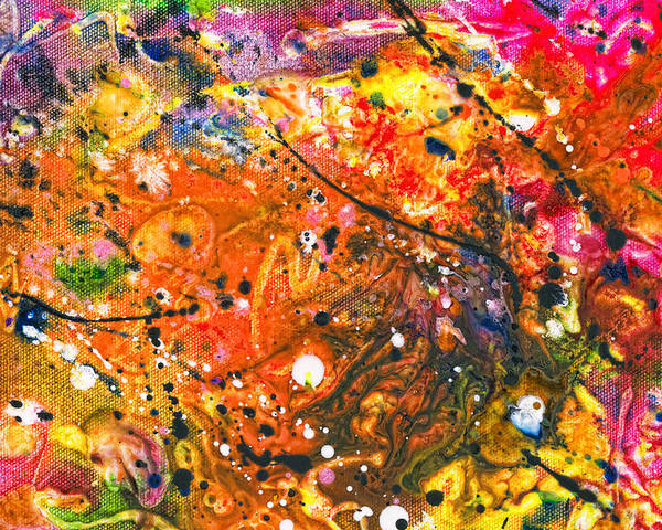 Abstract Poster featuring the mixed media Abstract - Crayon - The Excitement by Mike Savad