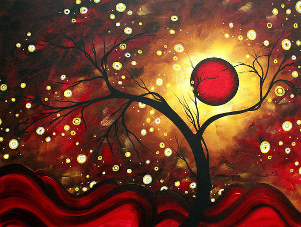 Abstract Poster featuring the painting Abstract Landscape Glowing Orb By Madart by Megan Duncanson