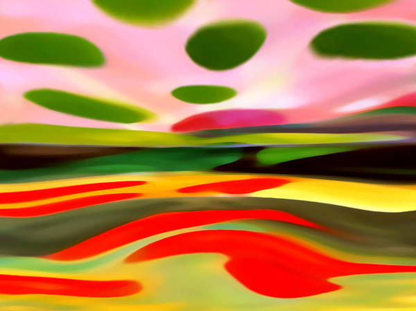 Abstract Poster featuring the painting Abstract Landscape Of Happiness by Amy Vangsgard