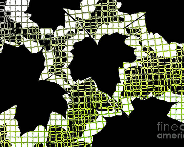 Abstract Poster featuring the photograph Abstract Leaf Pattern - Black White Lime Green by Natalie Kinnear