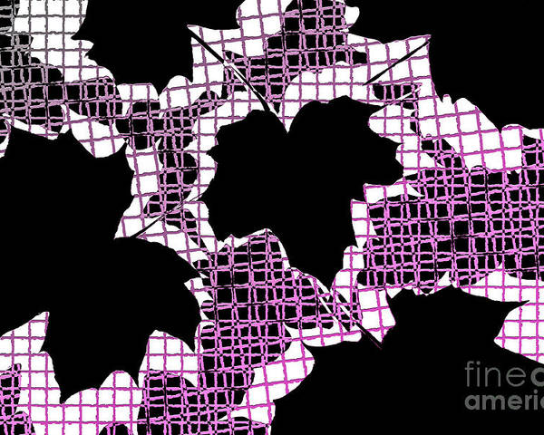 Abstract Poster featuring the photograph Abstract Leaf Pattern - Black White Pink by Natalie Kinnear