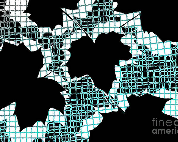 Abstract Poster featuring the photograph Abstract Leaf Pattern - Black White Turquoise by Natalie Kinnear