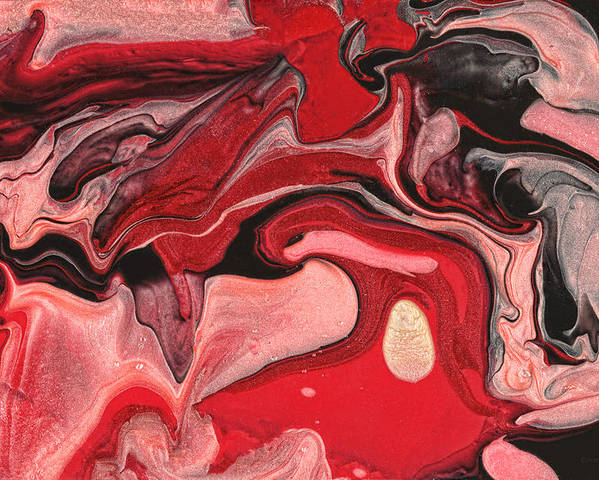 Abstract Poster featuring the painting Abstract - Nail Polish - Raspberry Nebula by Mike Savad