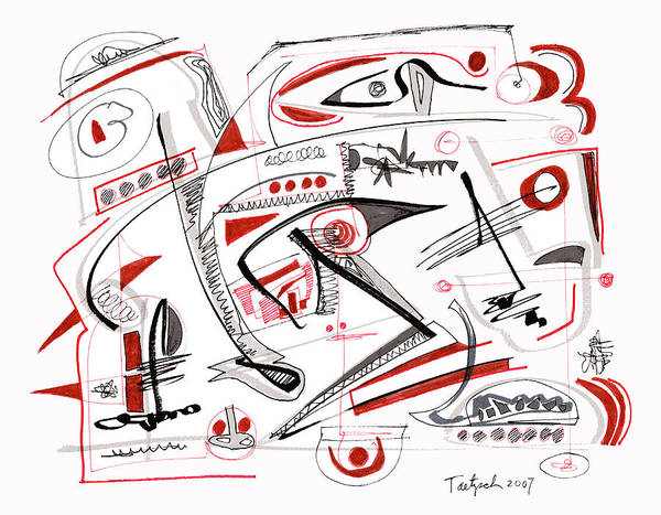 Abstract Poster featuring the drawing Abstract Pen Drawing Thirty-nine by Lynne Taetzsch