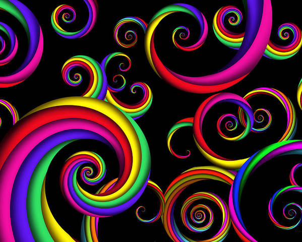 Abstract Poster featuring the digital art Abstract - Spirals - Inside A Clown by Mike Savad
