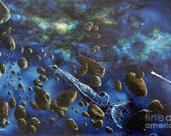 Canvas Poster featuring the painting Accidental Asteroid by Murphy Elliott