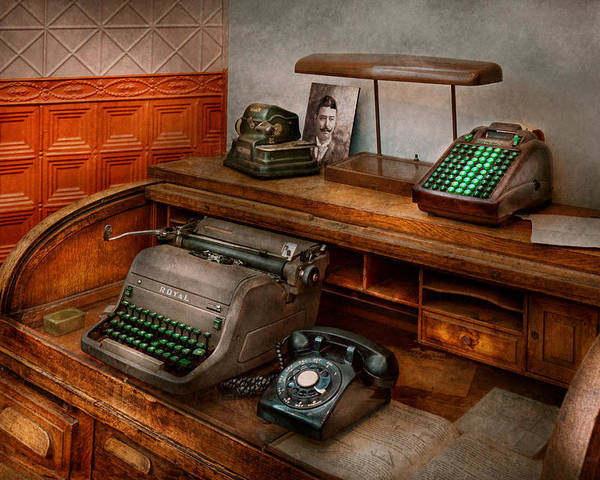 Accountant Poster Featuring The Photograph Accountant   Typewriter   The Accountants  Office By Mike Savad