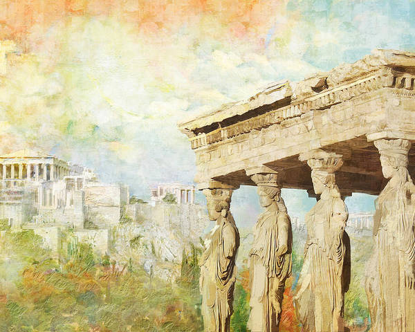 Greecetemple Of Apollo Epicurius At Bassaeacropolis Poster featuring the painting Acropolis Of Athens by Catf