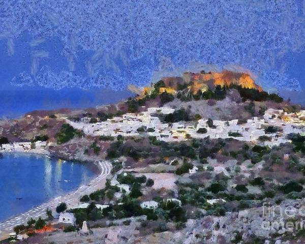 Rhodes Poster featuring the painting Acropolis Village And Beach Of Lindos by George Atsametakis