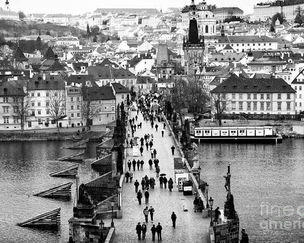 Across The Charles Bridge Poster featuring the photograph Across The Charles Bridge by John Rizzuto