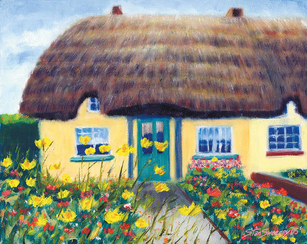 Adare Poster featuring the painting Adare Cottage by Stan Sweeney