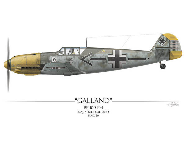 Aviation Poster featuring the painting Adolf Galland Messerschmitt Bf-109 - White Background by Craig Tinder