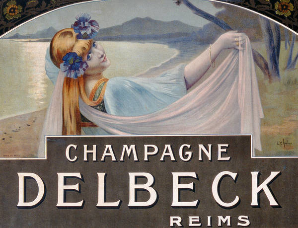 Advertising; Advert; Vintage Poster; Promoting; Publicising; Publicity; Alcohol; Sparkling Wine; Female; Coast; Flowers; Beautiful Woman; Art Nouveau Poster featuring the drawing Advertisement For Champagne Delbeck by Louis Chalon